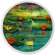 Round Beach Towel featuring the painting Tranquility by Teresa Wegrzyn