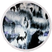 Round Beach Towel featuring the painting Dancing In The Rain Abstract Contemporary Painting by Michelle Joseph-Long