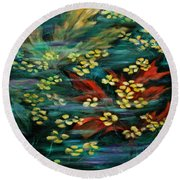Round Beach Towel featuring the painting Transforming... by Xueling Zou