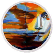 Round Beach Towel featuring the painting Transition - Diptic by Helena Wierzbicki