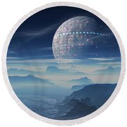 Tranus Alien Planet With Satellite Round Beach Towel