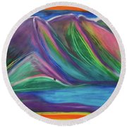 Round Beach Towel featuring the painting Travelers Mountains By Jrr by First Star Art