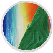Round Beach Towel featuring the painting Travelers Rainbow Waterfall By Jrr by First Star Art