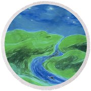 Round Beach Towel featuring the painting Travelers Upstream By Jrr by First Star Art