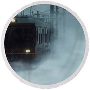 Traveling In The Snow... Round Beach Towel