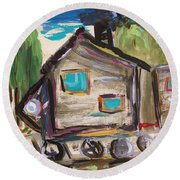 Round Beach Towel featuring the painting Traveling Through The Wilderness by Mary Carol Williams
