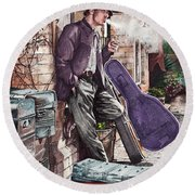 Travelling Man Round Beach Towel
