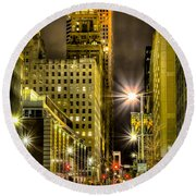 Travis And Lamar Street At Night Round Beach Towel