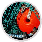 Round Beach Towel featuring the photograph Trawlnet Ball - Made In Denmark by Mike Martin