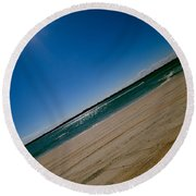Round Beach Towel featuring the photograph Treads In The Sand by DigiArt Diaries by Vicky B Fuller