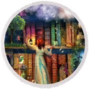 Fairytale Treasure Hunt Book Shelf Variant 2 Round Beach Towel