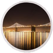 Treasure Island Bay Lights Round Beach Towel