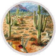 Treasures Of The Desert Round Beach Towel by Marilyn Smith