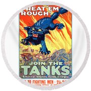 Treat 'em Rough Vintage Us Army Poster Round Beach Towel
