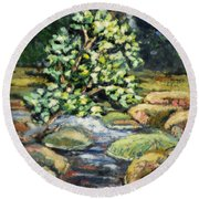 Tree And Stream Round Beach Towel