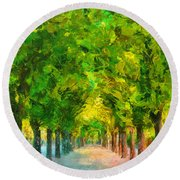 Tree Avenue In The Vienna Augarten Round Beach Towel by Menega Sabidussi