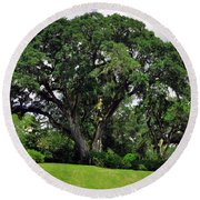 Tree By The River Round Beach Towel by Lydia Holly