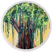 Tree Grit Round Beach Towel