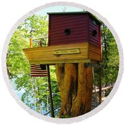Tree House Boat Round Beach Towel by Sherman Perry
