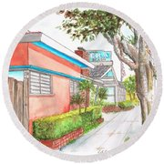 Tree In Laguna Riviera Hotel In Laguna Beach - California Round Beach Towel by Carlos G Groppa