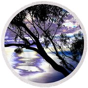 Tree In Silhouette Round Beach Towel