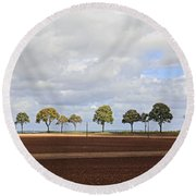 Tree Line France Round Beach Towel