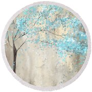 Tree Of Blues Round Beach Towel