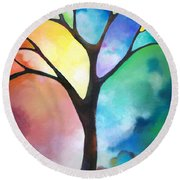 Original Art Abstract Art Acrylic Painting Tree Of Light By Sally Trace Fine Art Round Beach Towel by Sally Trace