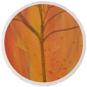 Round Beach Towel featuring the painting Tree Of Three Coral by Robin Maria Pedrero