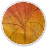 Round Beach Towel featuring the painting Tree Of Three Gold by Robin Maria Pedrero