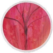 Round Beach Towel featuring the painting Tree Of Three Pink by Robin Maria Pedrero