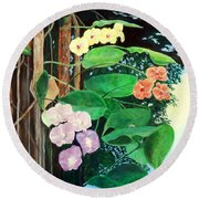 Tree Orchids Round Beach Towel