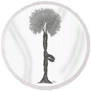 Tree Pose Round Beach Towel