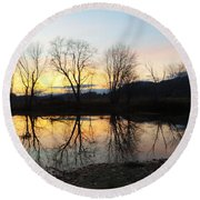 Tree Reflections Landscape Round Beach Towel