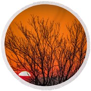 Tree Silhouetted By Irish Sunrise Round Beach Towel