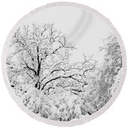 Tree Snow Round Beach Towel
