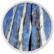 Tree Stand In Early Spring Round Beach Towel