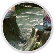 Tree Stump Stilts Round Beach Towel
