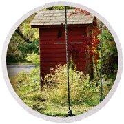 Tree Swing By The Outhouse Round Beach Towel