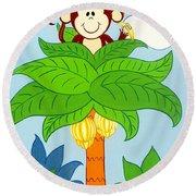 Tree Top Monkey Round Beach Towel