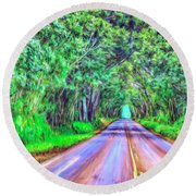Tree Tunnel Kauai Round Beach Towel