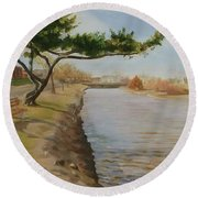 Tree With Lake Round Beach Towel