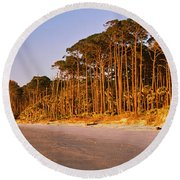 Trees Along The Shoreline, Hunting Round Beach Towel