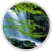 Trees And Falls Round Beach Towel