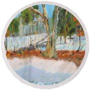 Trees And Snow Plein Air Round Beach Towel
