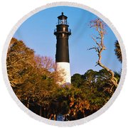 Trees Around A Lighthouse, Hunting Round Beach Towel
