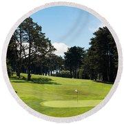 Trees In A Golf Course, Presidio Golf Round Beach Towel