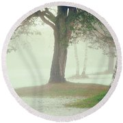 Round Beach Towel featuring the photograph Trees In Fog by Silvia Ganora