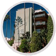 Trees In Front Of A Hotel, Beverly Round Beach Towel