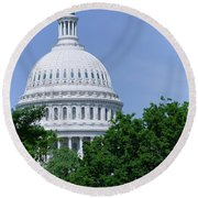 Trees In Spring And U.s. Capitol Dome Round Beach Towel